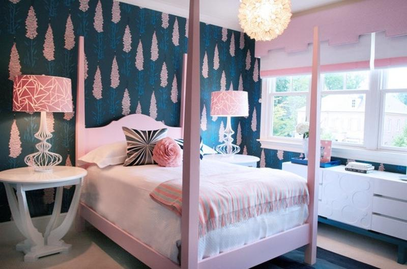 Stylish Blue And Pink Bedroom