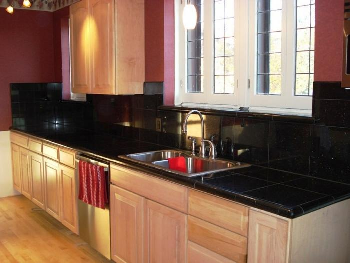 super black tile granite kitchen countertop