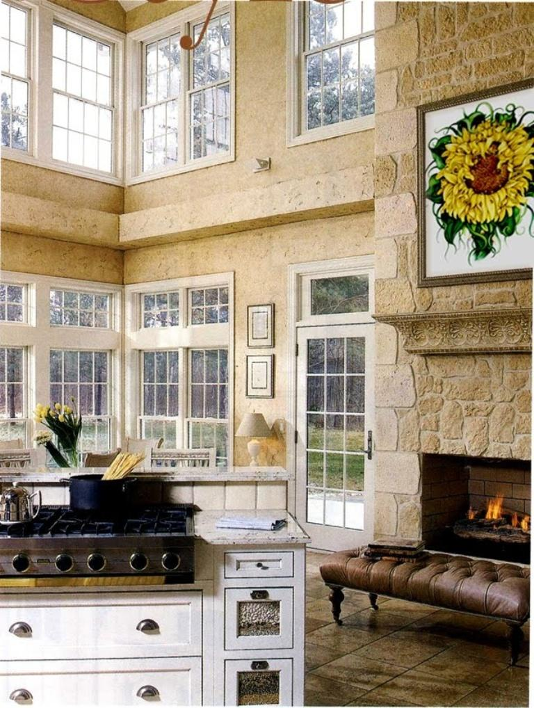 Tall Kitchen with Stone Wall