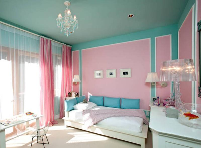 Tifany Blue And Pink Bedroom