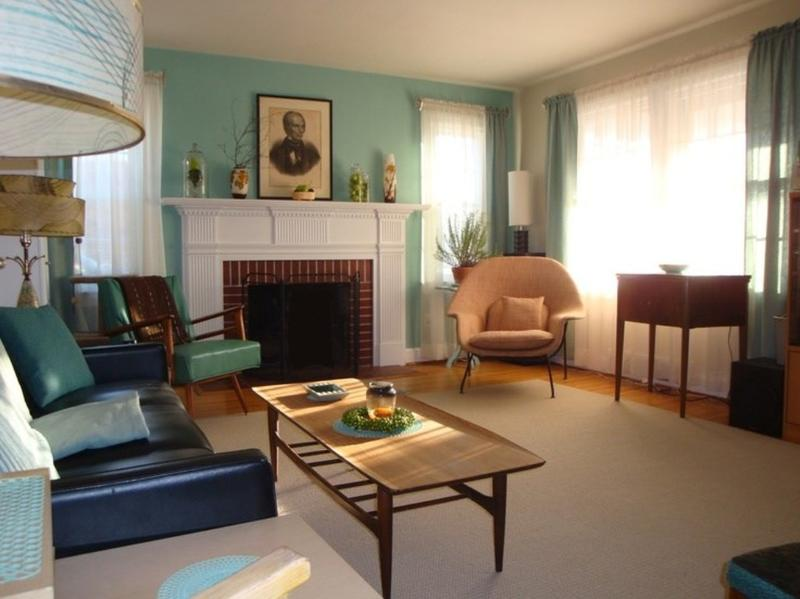 Wonderful Turquoise Mid Century Living Room Part 9