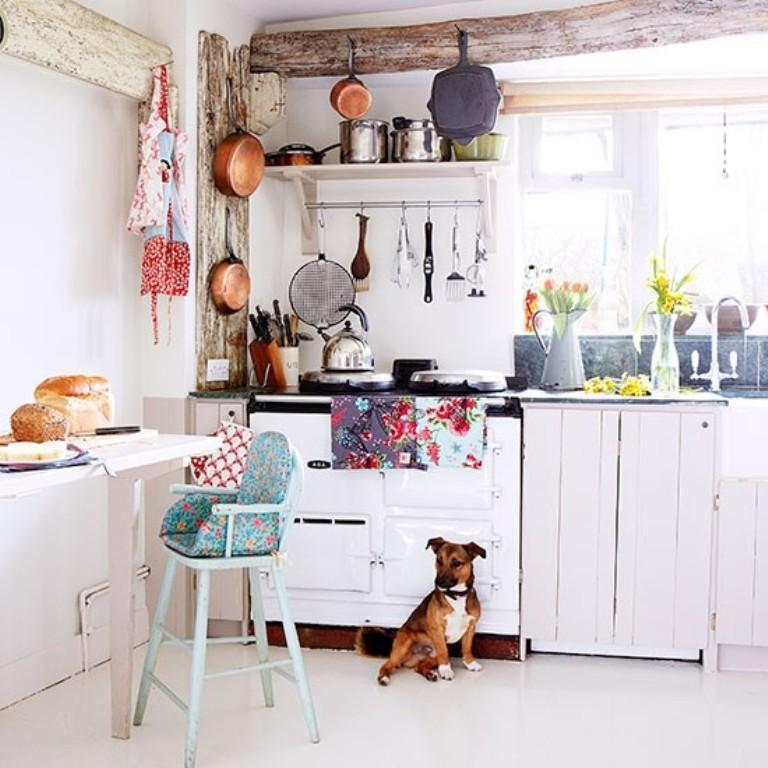 White Country Kitchen With Beams