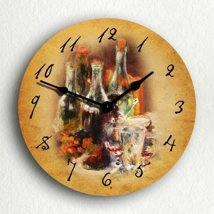 wine bottles 10inch wall clock