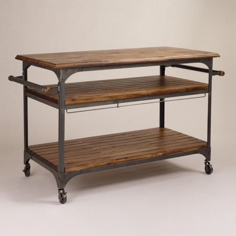 Wood And Steel Kitchen Cart