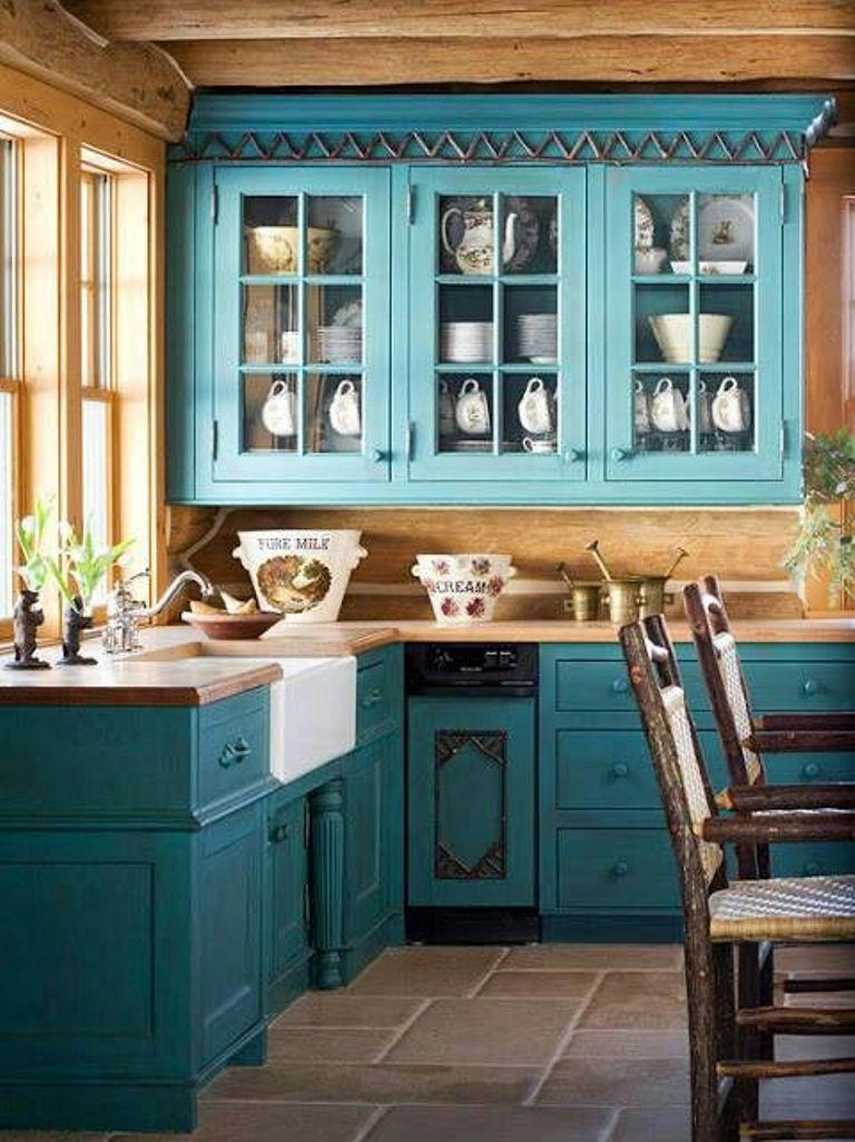 20 refreshing blue kitchen design ideas rilane for Dark blue kitchen paint