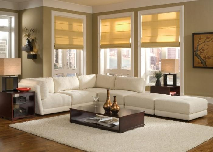 Airy Living Room With White Sectional Sofa