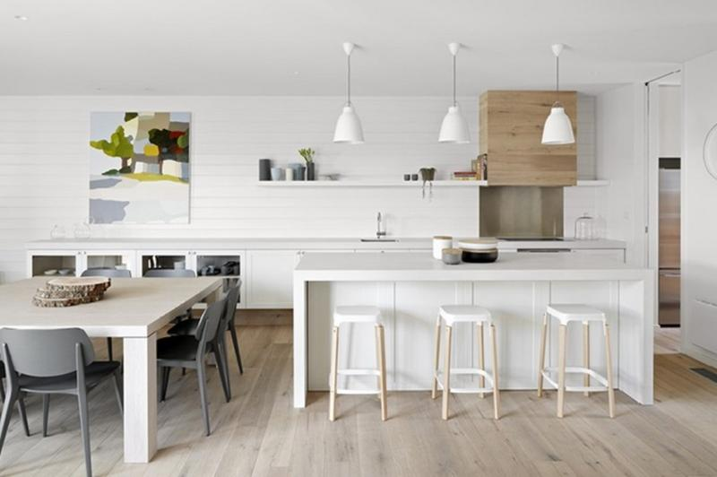 Amazing White Kitchen With Wood Panels