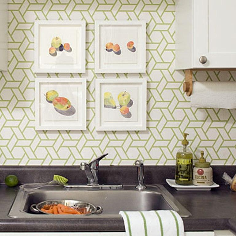Beautiful Kitchen With Geometric Wallpaper