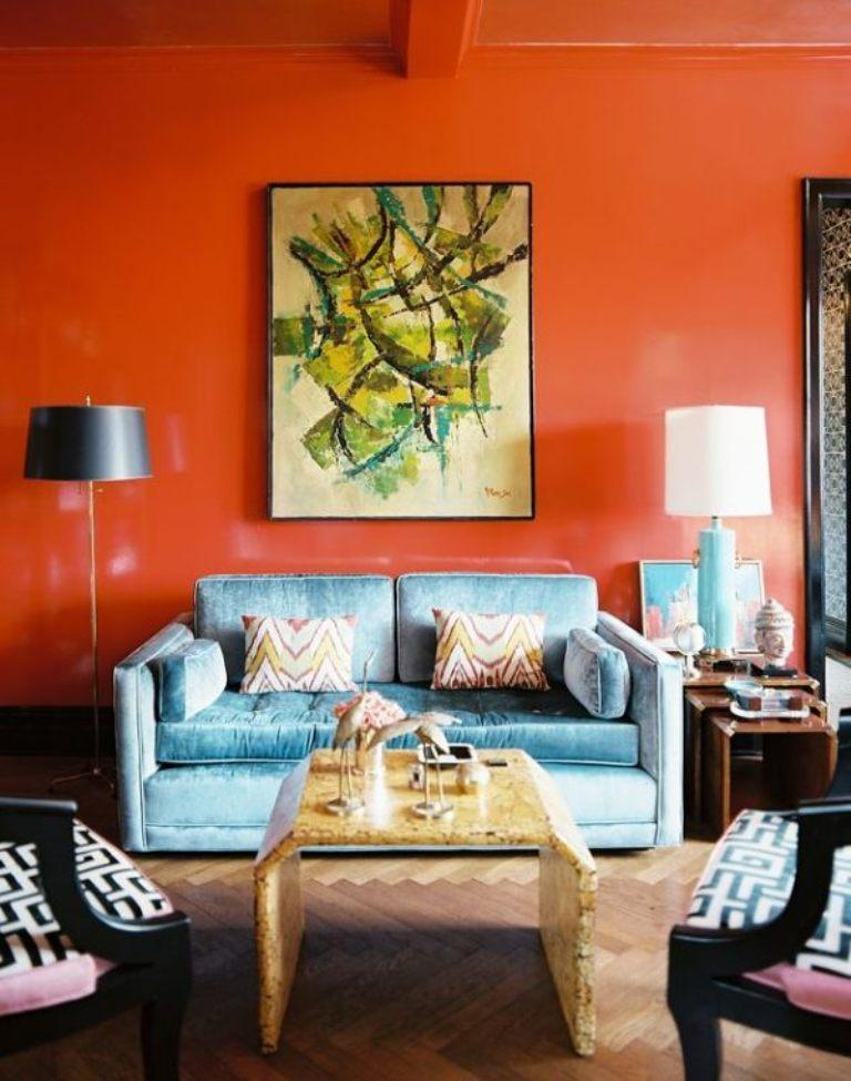 15 lively orange living room design ideas rilane for Living room ideas orange