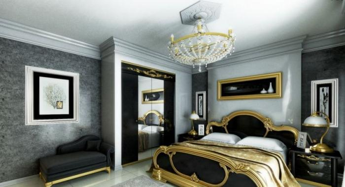 Black And Gold Modern Classic Spacious Bedroom