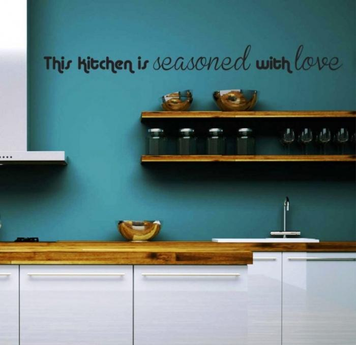 Kitchen Wall Decor Blue : Wonderful sticker ideas for kitchen wall design rilane