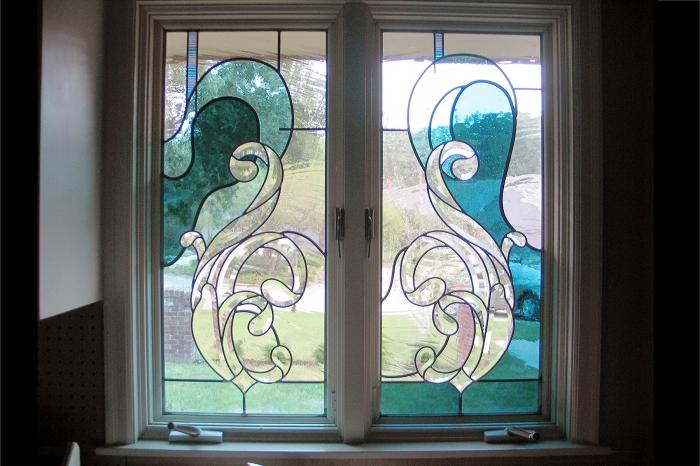 Blue Waves Stained Gl Window