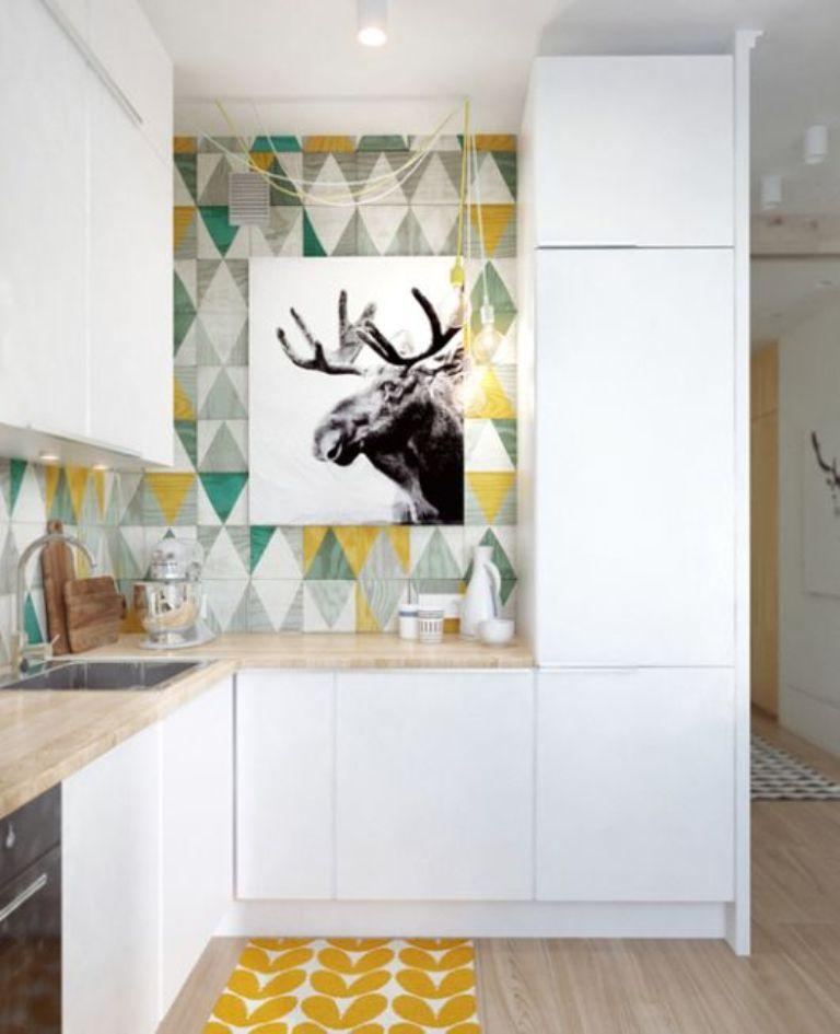 Bold Kitchen With Geometric Wallpaper