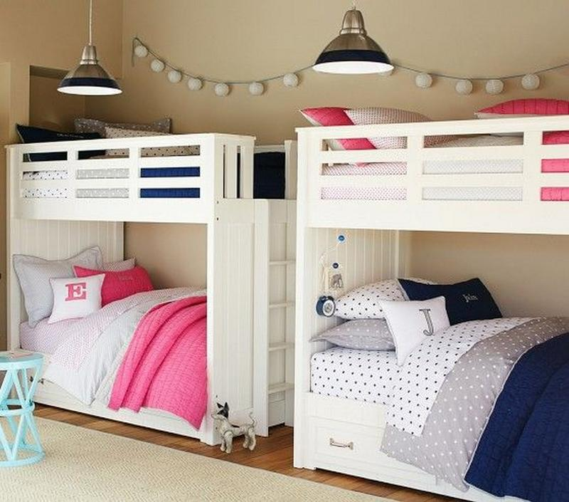 Boy and Girl Shared Bedroom with Bunk Beds