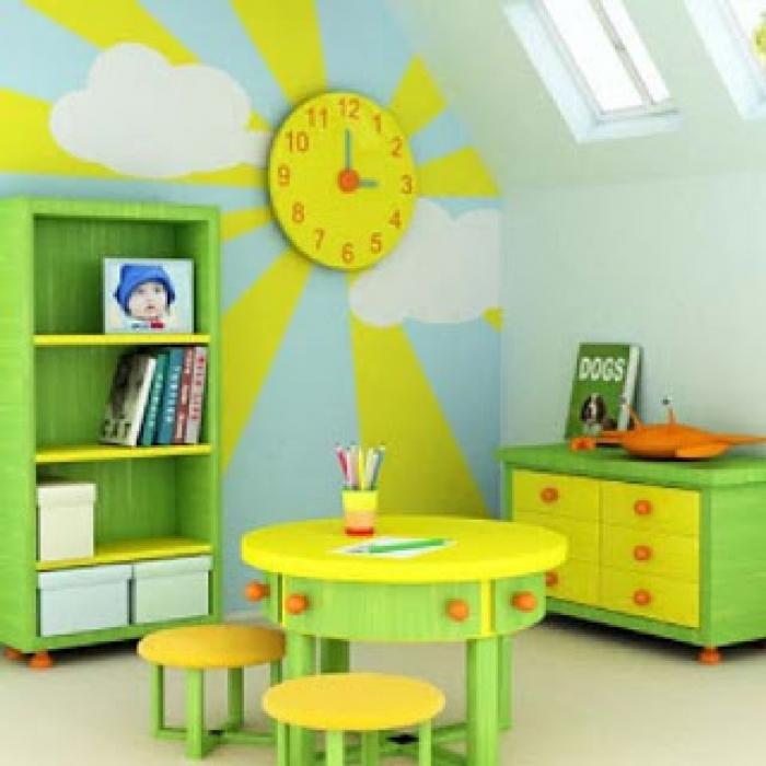 Bright Green And Yellow Kids Study Room