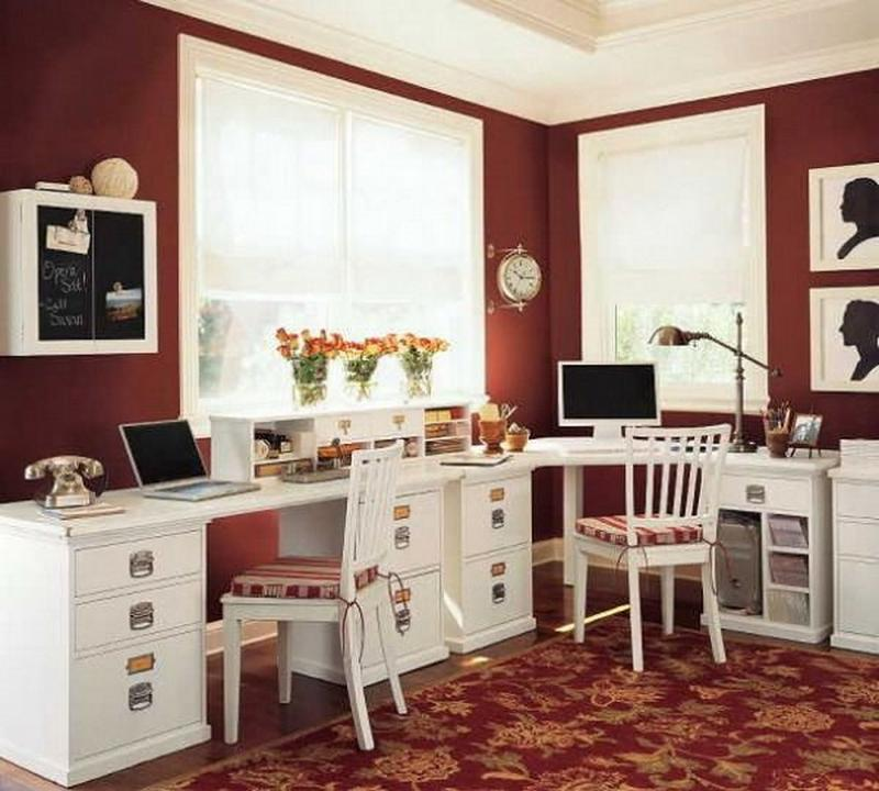 burnt red home office