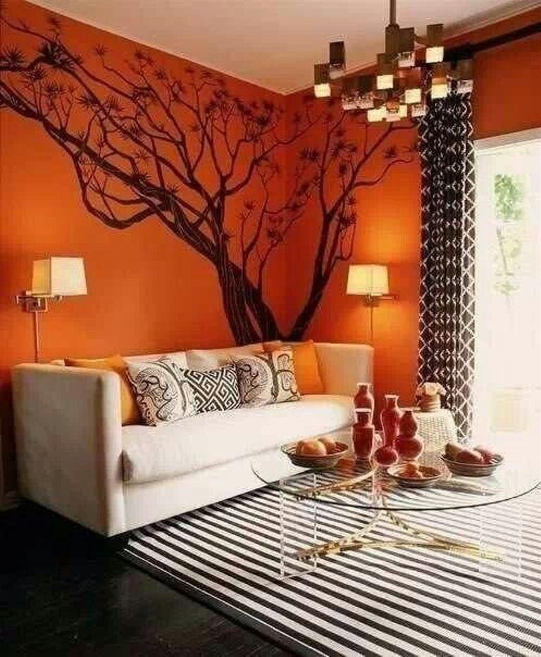 burnt orange living room - Orange Living Room Design
