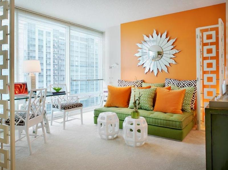 Superieur Chic Orange Living Room