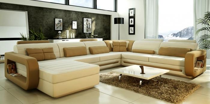 Coffee Brown And White Sectional Sofa