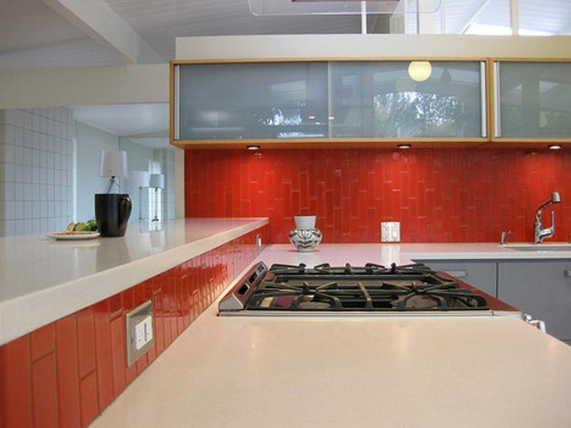 Genial Contemporary Kitchen With Red Subway Tiles