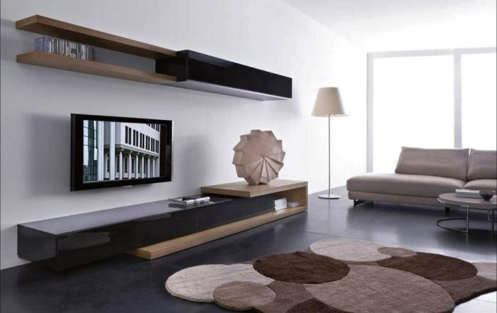 Contemporary Living Room Design Ideas With Wood Wall Shelving Part 95