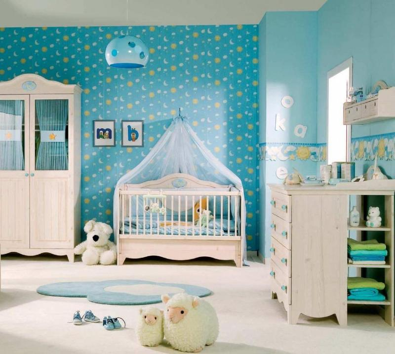 Boy Nursery Ideas Part - 19: Cool Blue Theme Boyu0027s Nursery