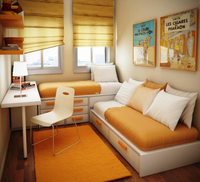 Cool Ivory Orange Minimalist Girls Bedroom