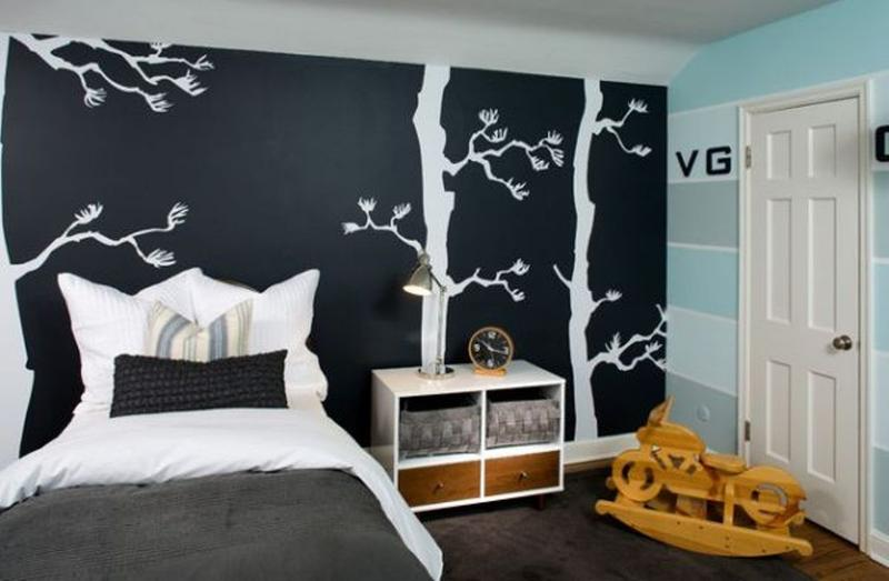 Cool Kidu0027s Bedroom With Chalkboard Wall