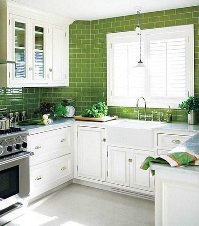 Cool Kitchen With Bright Green Subway Tiles