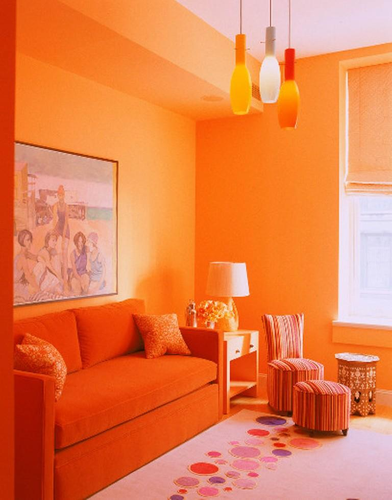 Cool Orange Living Room. Image Credit:9 Home Design