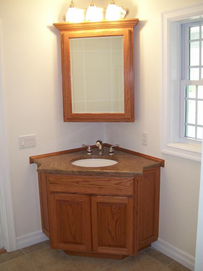 Cool Small Wooden Bathroom Vanity For Corner