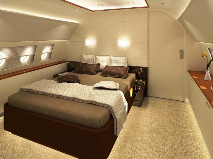 Cozy Bedroom Private Jet Interior Design With Soft Brown Carpet