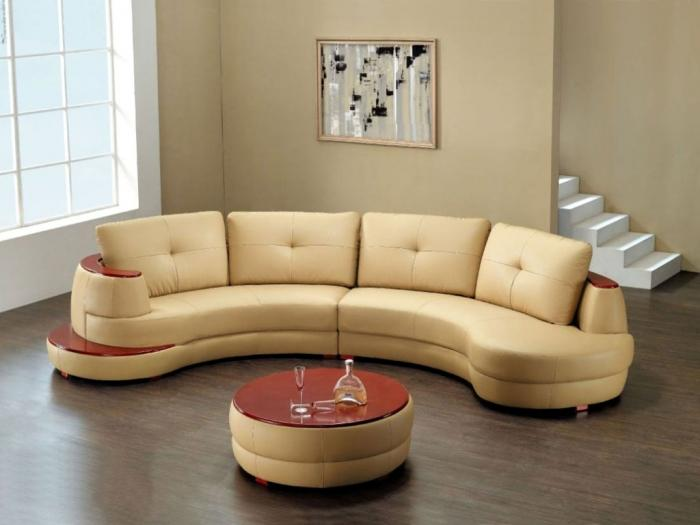 Creamy Rounded Sectional Sofa Part 54