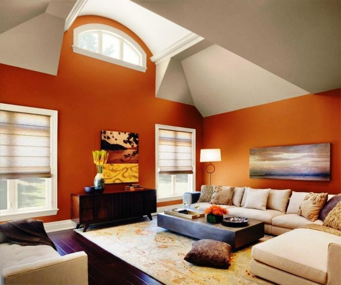 Dark Orange And Grey Wall Paint Of Living Room Interior Scheme