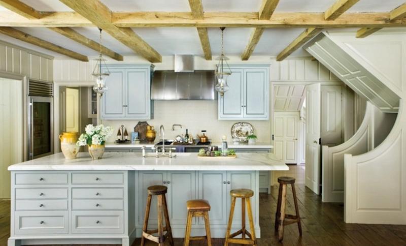 Farmhouse Kitchen With White Wood Panels