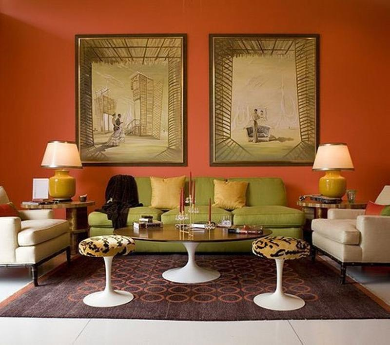 Formal Orange Living Room