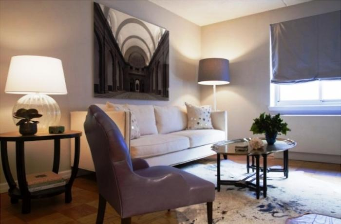 Gray Purple Living Room With Wall Painting Part 89