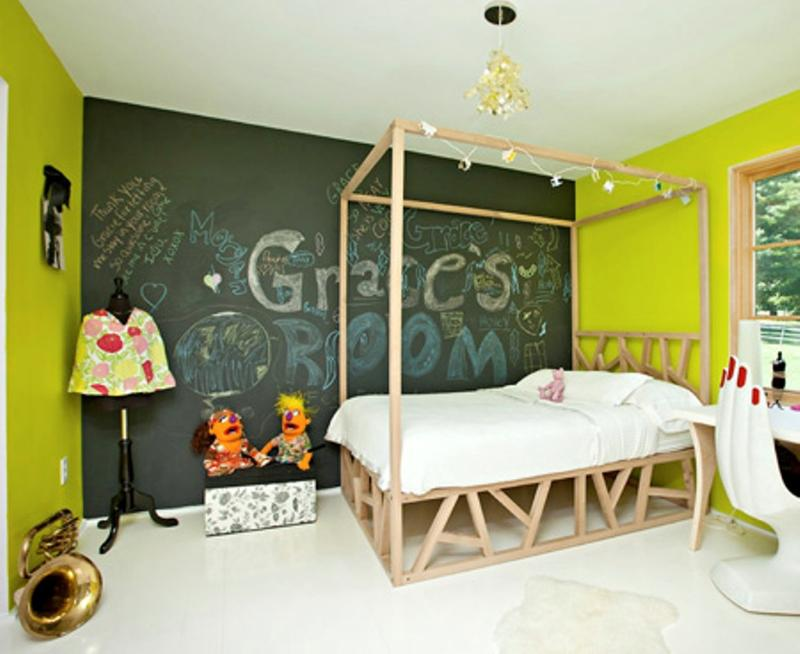 Green Bedroom With Chalkboard Wall
