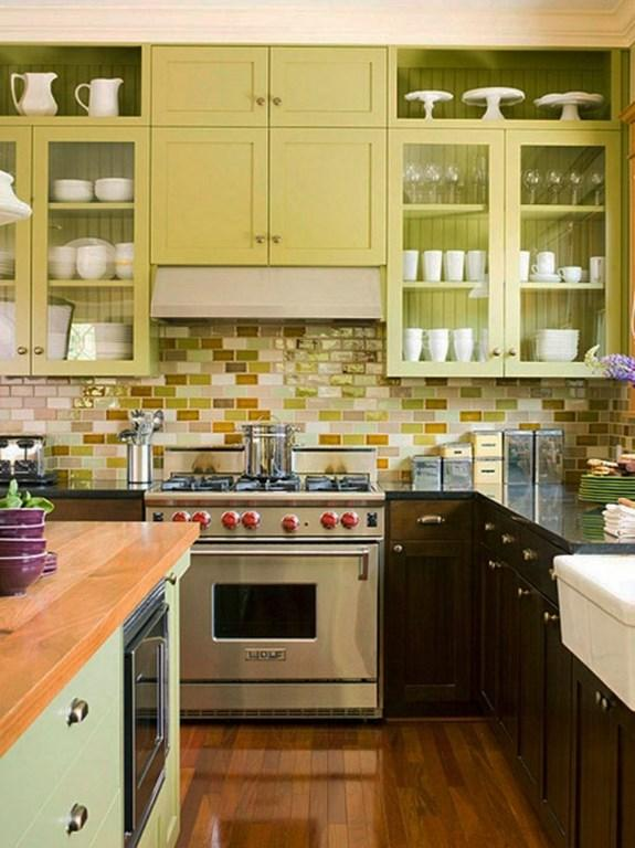 Kitchen With Colorful Subway Backslash Tiles