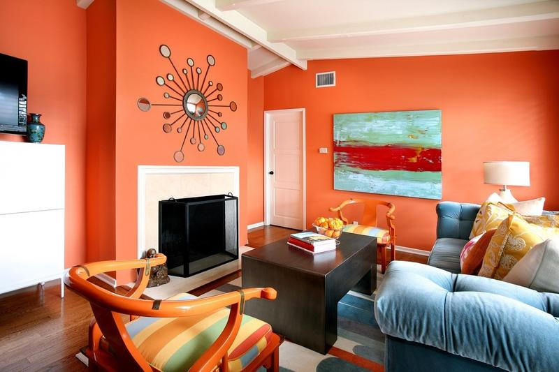 Lively Orange Living Room Part 11