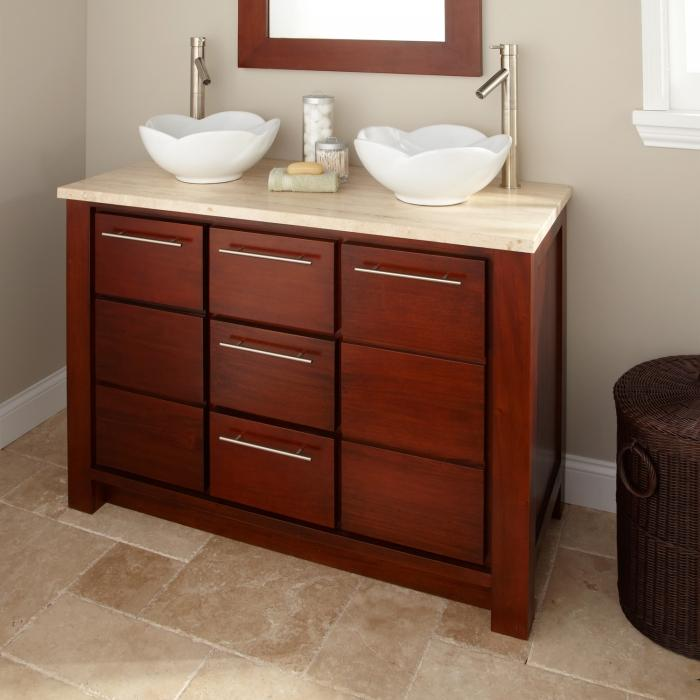 Mahogany Bathroom Vanity Vessel Sink