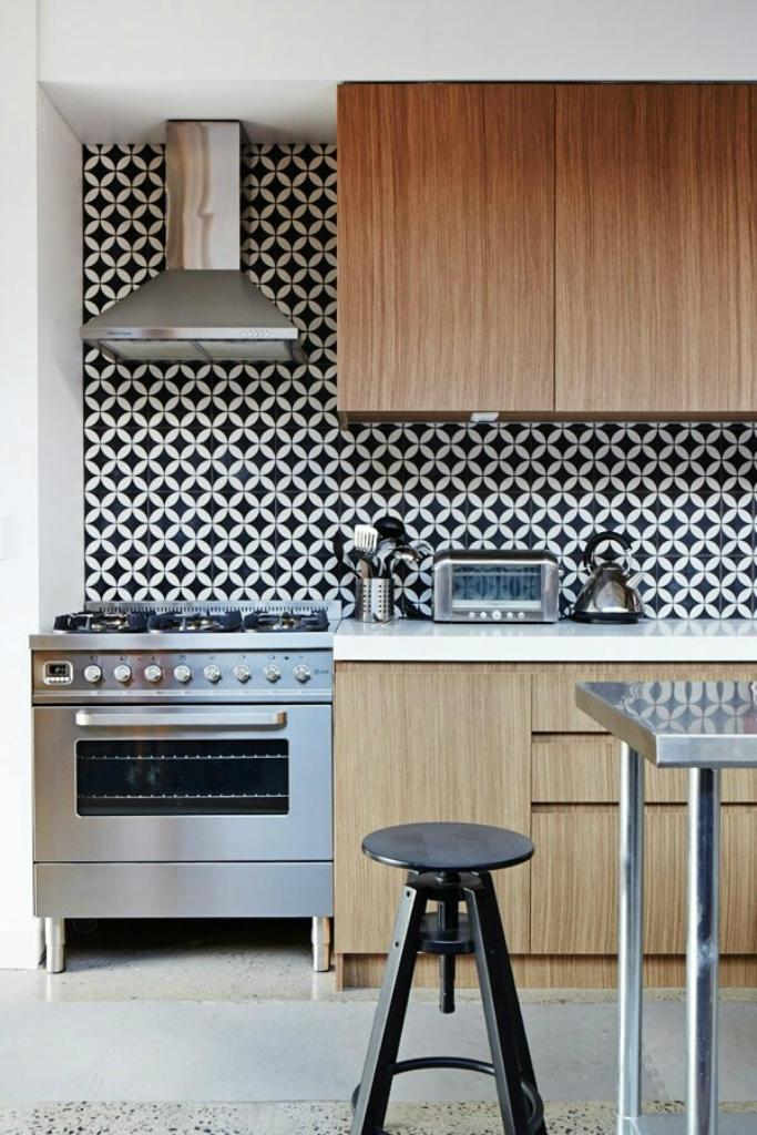 Modern Kitchen With Black And White Geometric Wallpaper