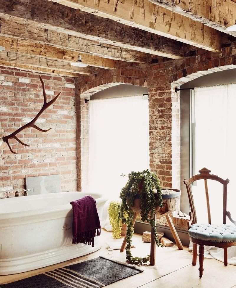 Rustic Bathroom With White Shiplap: 15 Natural Rustic Bathroom Design Ideas