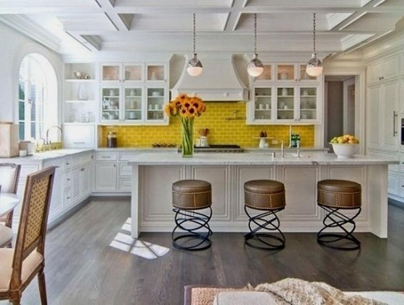 Perky Kitchen With Yellow Subway Tiles