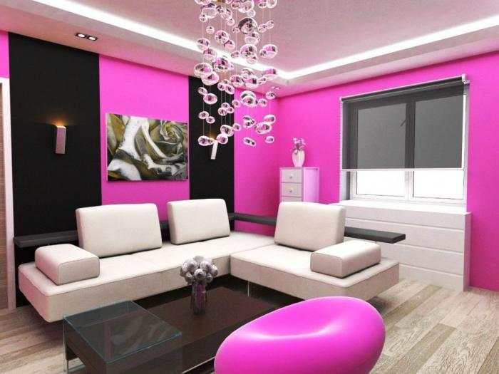 pink wall paint living room design with center painting - Wall Paintings Design