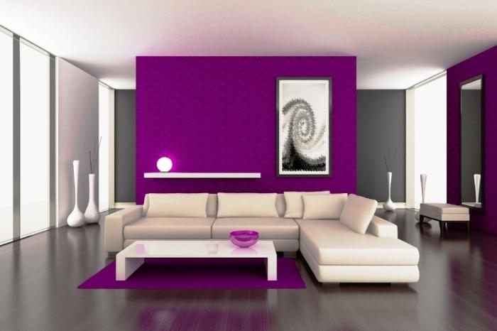 Purple Interiors With Black And White Painting