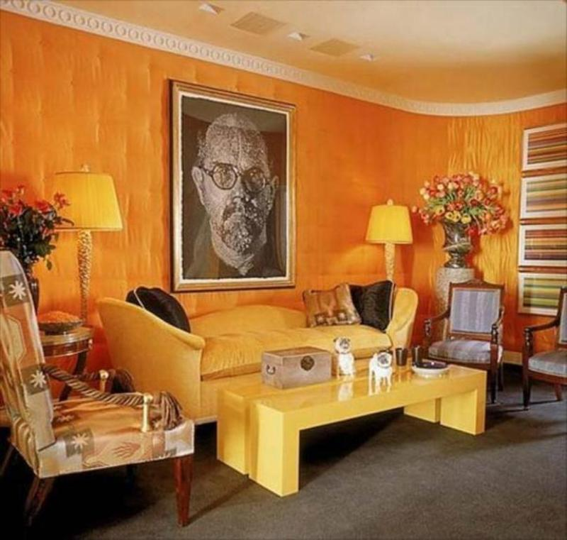15 lively orange living room design ideas rilane for Interior design ideas yellow living room