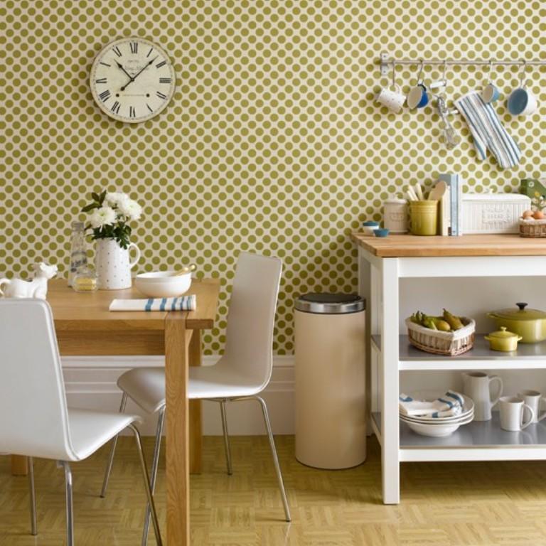 15 Modern Kitchen Designs with Geometric Wallpapers - Rilane