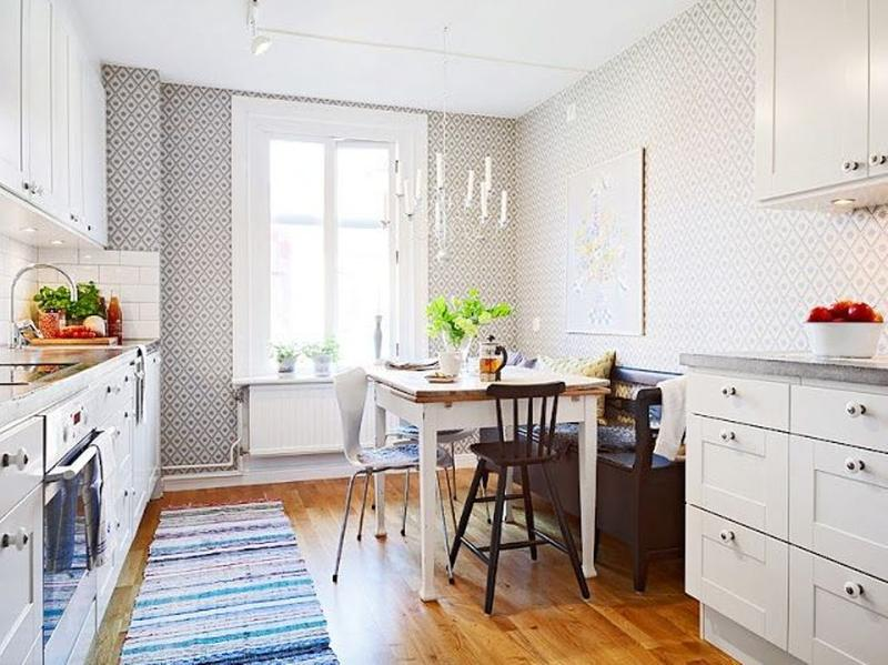 Scandinavian Kitchen With Geometric Wallpaper