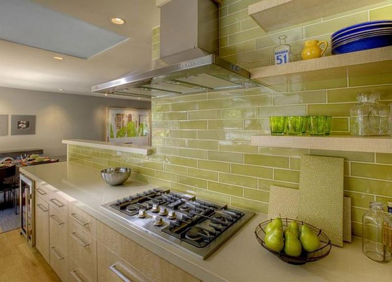 Sleek Kitchen With Yellow Subway Tiles